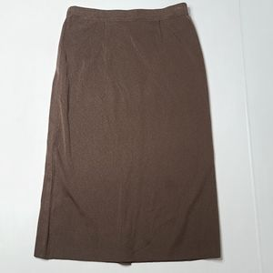 Exclusively Misook Small Brown Pull On Midi Skirt